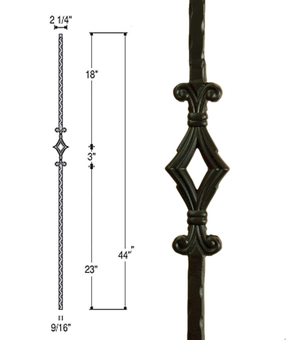 Single Window Iron Baluster : 2760 | Stair parts