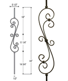 Skinny Scroll Iron Baluster : 2581
