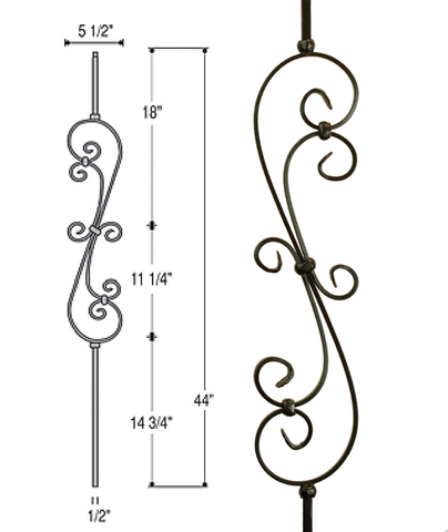 Skinny Scroll Iron Baluster : 2581 | Stair parts