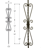 Small Heart Scroll Iron Baluster : 2982
