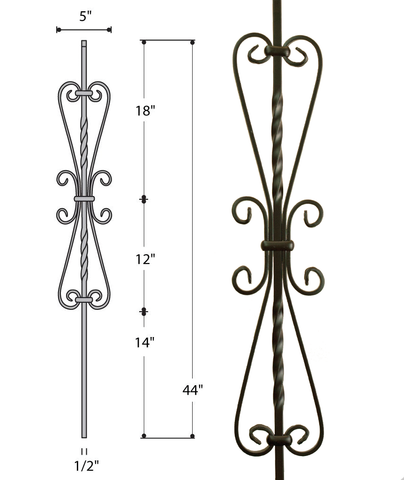 Small Heart Scroll Iron Baluster : 2982 | Stair parts