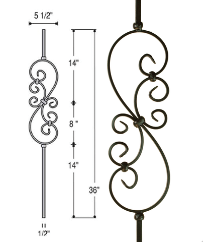 Small Scroll Iron Baluster : 2685 | Stair parts