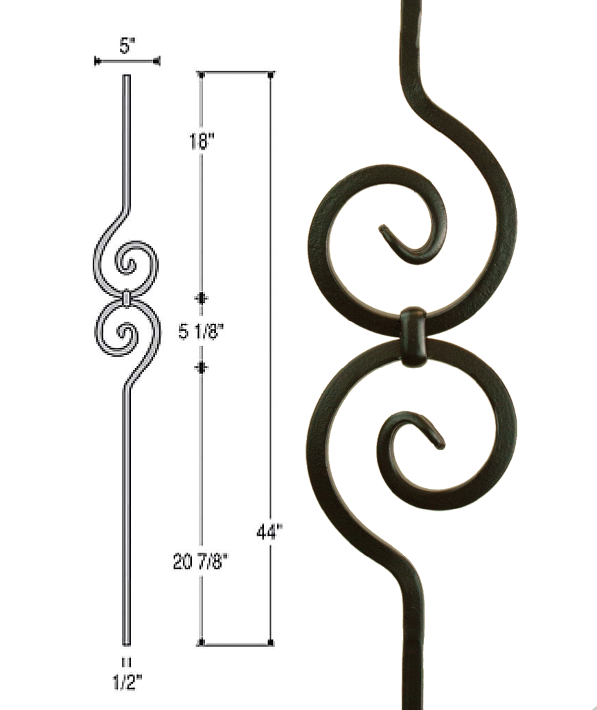 Spiral Scroll Iron Baluster : 2582