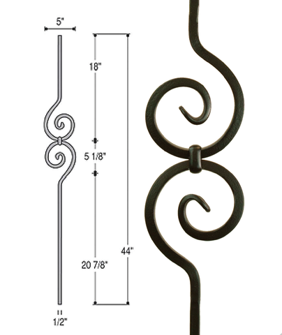 Spiral Scroll Iron Baluster : 2582 | Stair parts