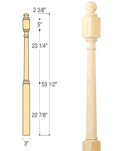 Traditional Ball Top Starting Newel : C-4042BT | Stair parts