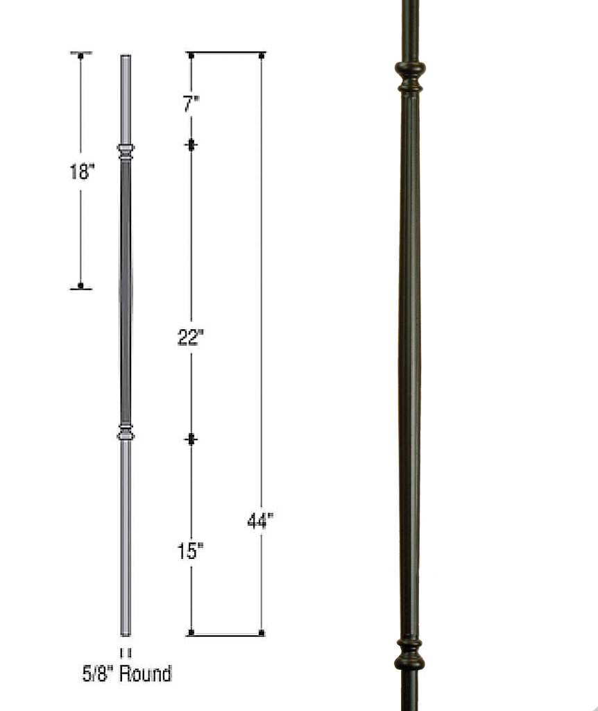 Venetian Fluted Iron Baluster : 2596 | Stair Parts ...