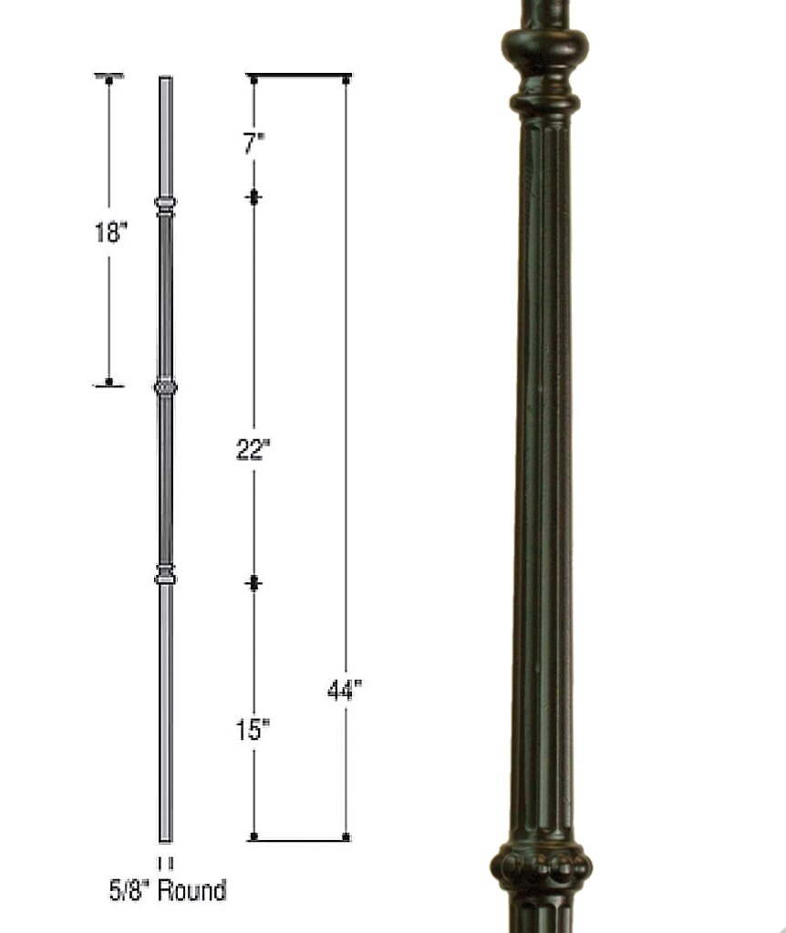 Venetian Fluted with Knuckle Iron Baluster : 2597