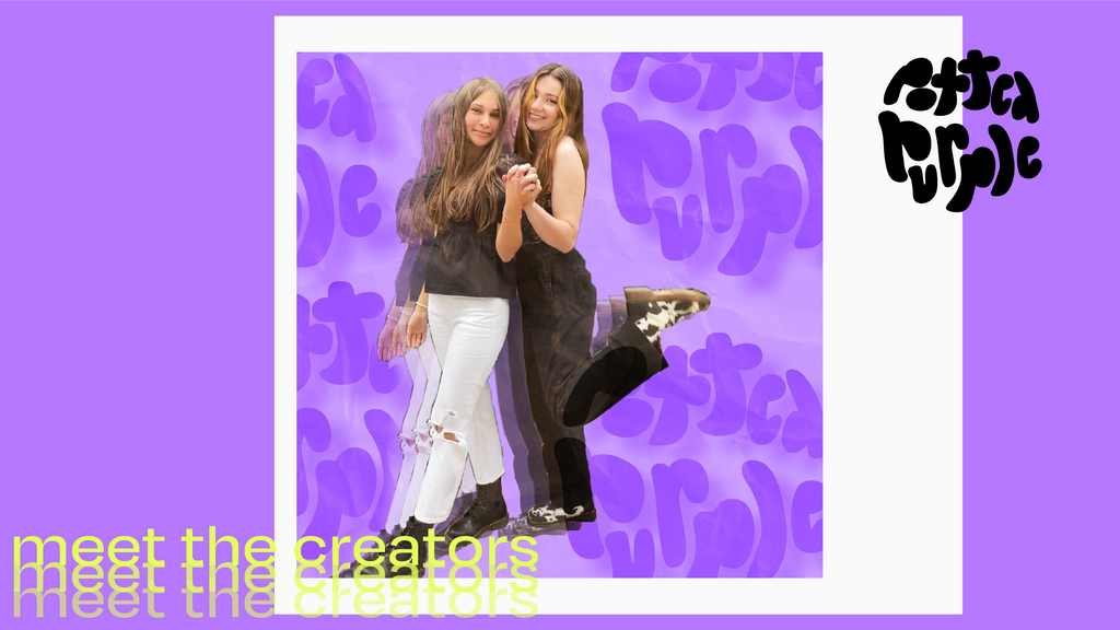 The founders of Potted Purple Magazine hold hands in a photo against a purple logo backdrop.