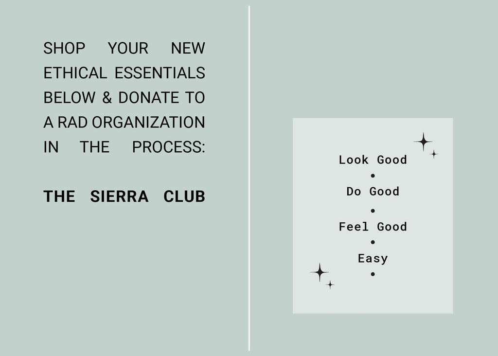Shop our first Edit of ethical essentials and donate to environmental and social justice organization The Sierra Club