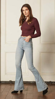 Boyish Jeans The Kingsley Wide Leg Flare in Gone With The Wind