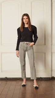 The Tommy High Rise Straight in Devil is a Woman Grey Stripe Wash by Boyish Jeans