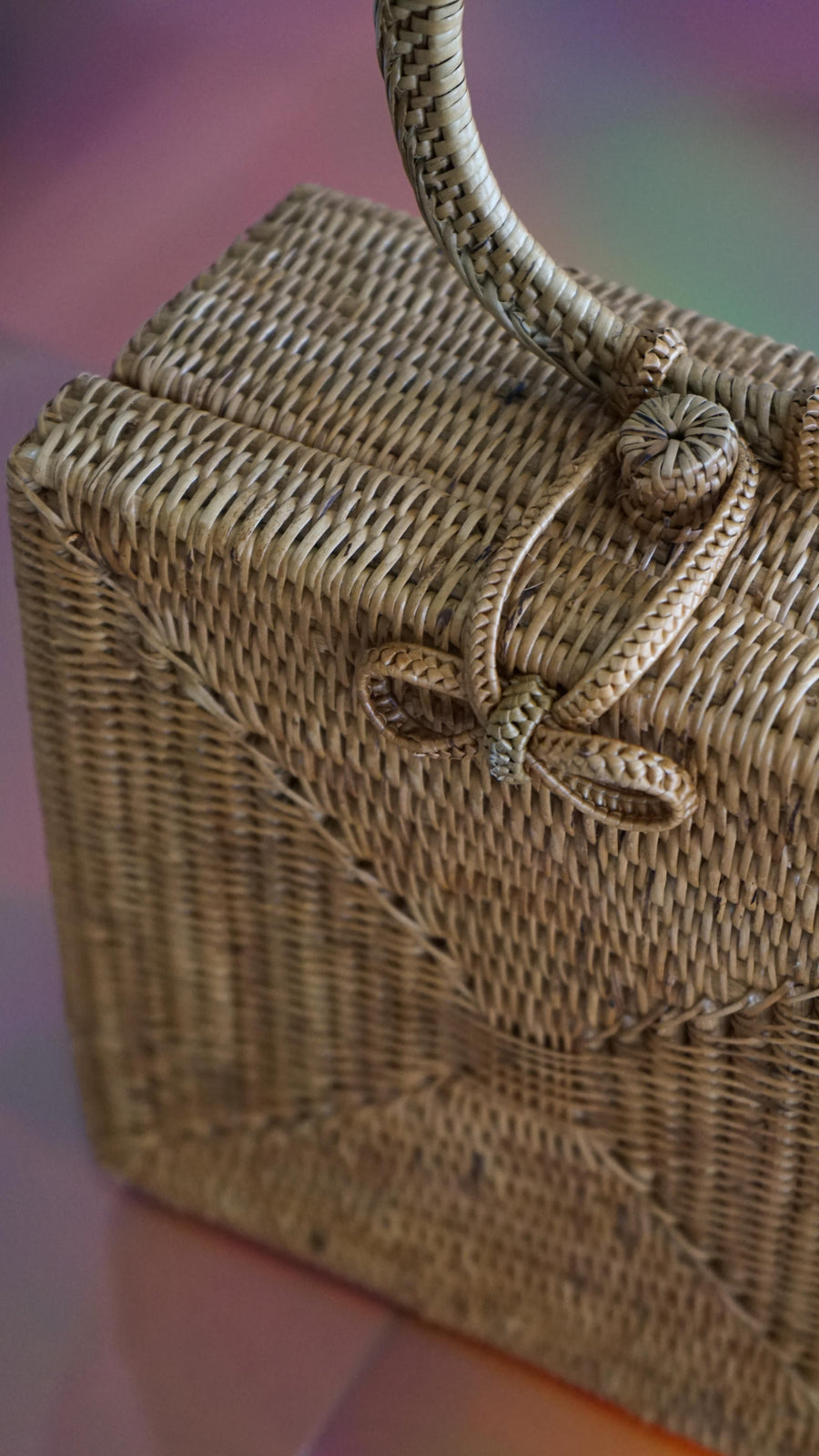 Atta Malika Square Rattan Straw Bag With Top Handle By Brunna Co