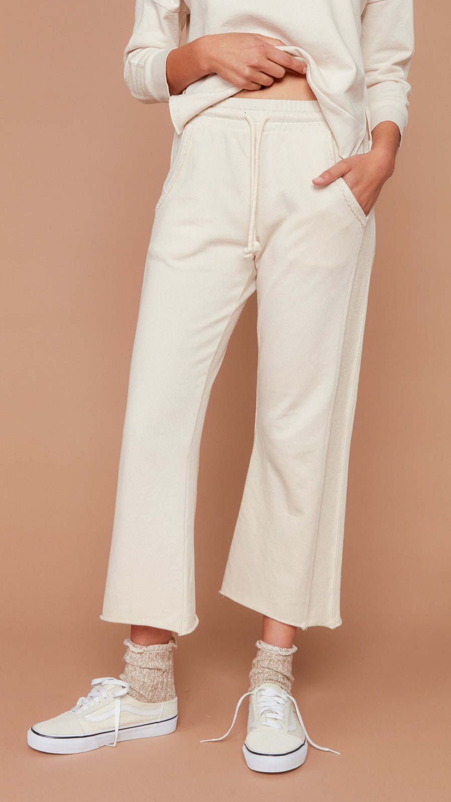 MATE the Label Kayden Crop Flare Pant in Bone