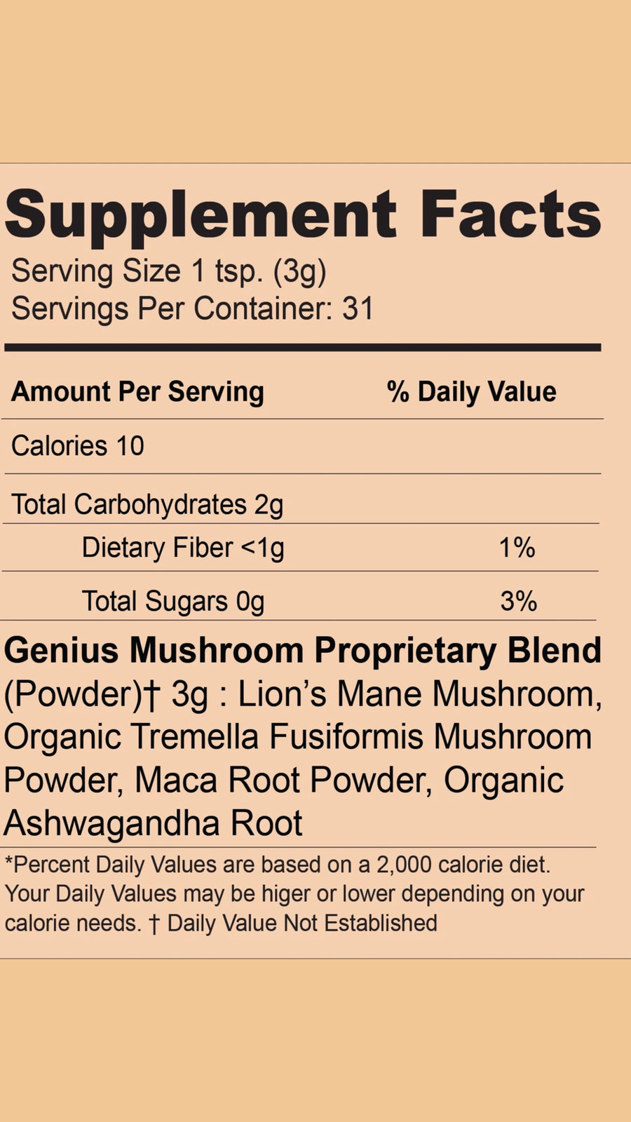 Genius Mushroom Blend Supplement Facts