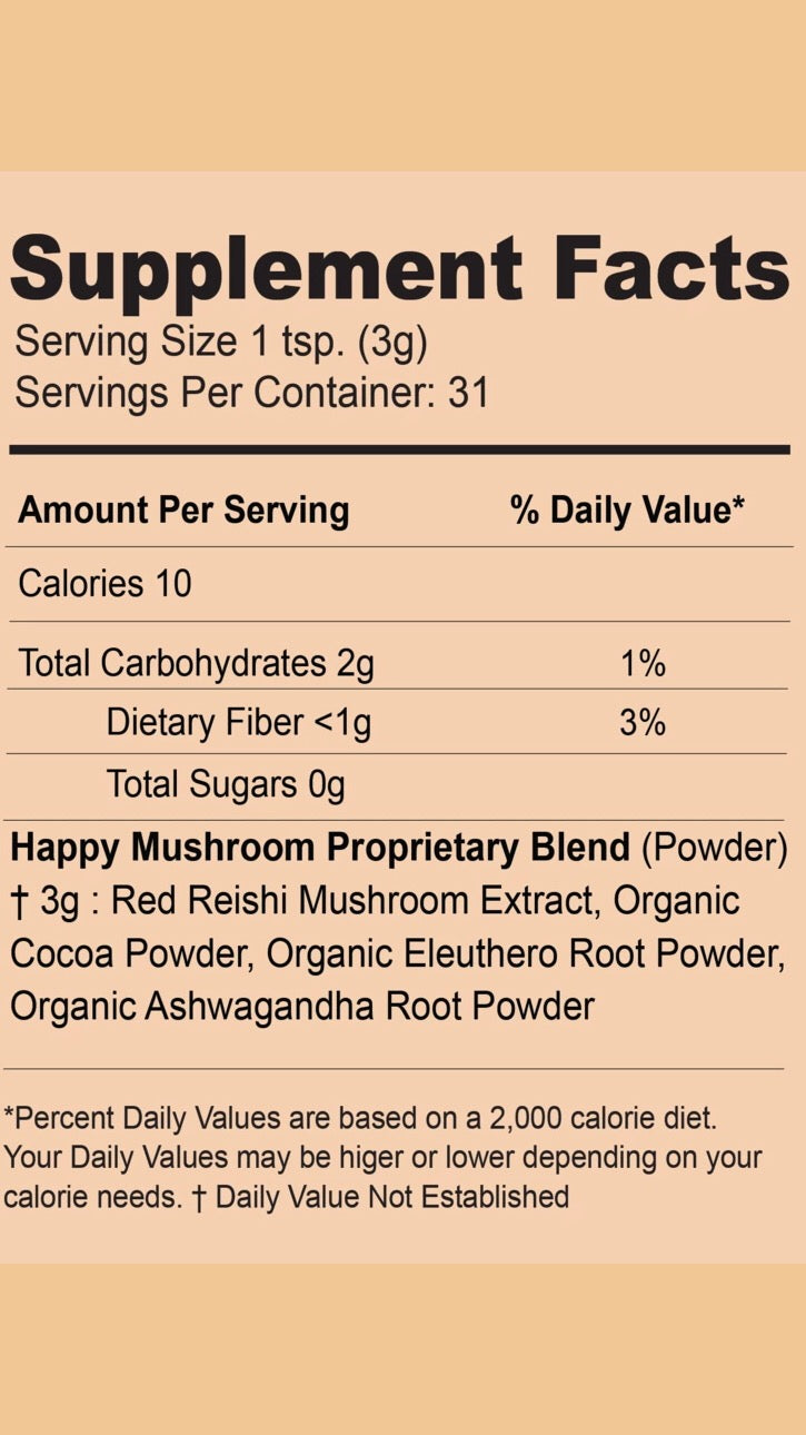 Happy Mushroom Blend Supplement Facts