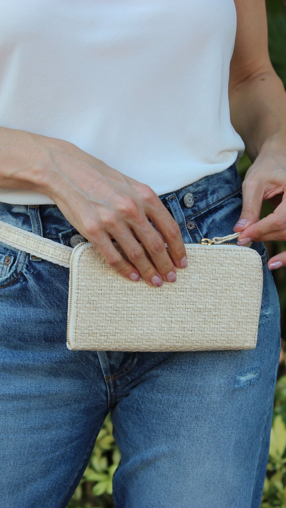 Convertible Wallet in White Sand Raffia by HFS Collective