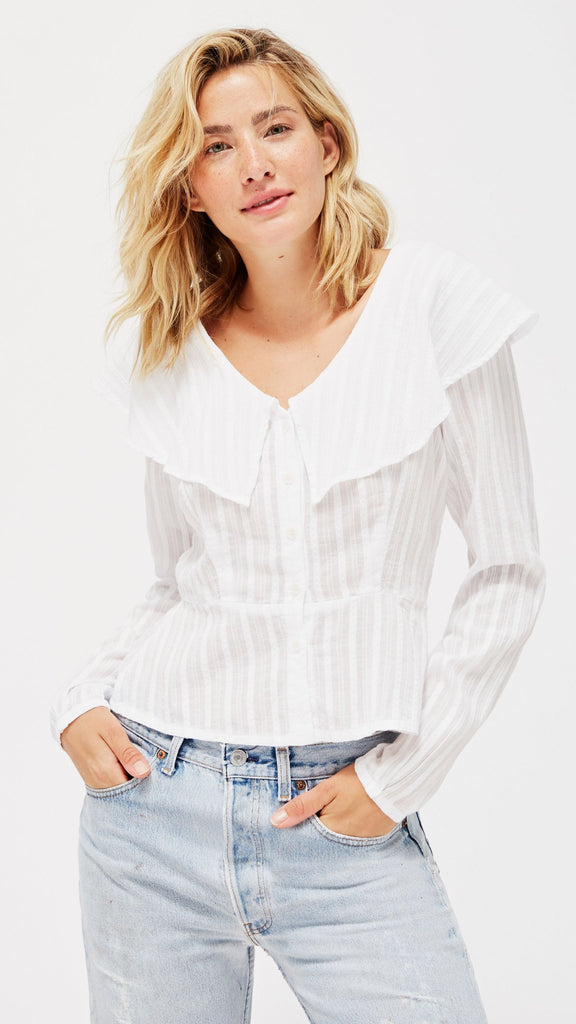LACAUSA Clothing Fawn Blouse in Whitewash