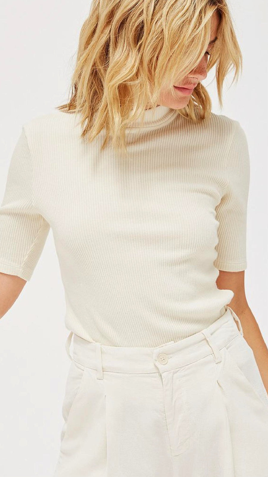 LACAUSA Clothing Sweater Rib Mock Neck in Parchment