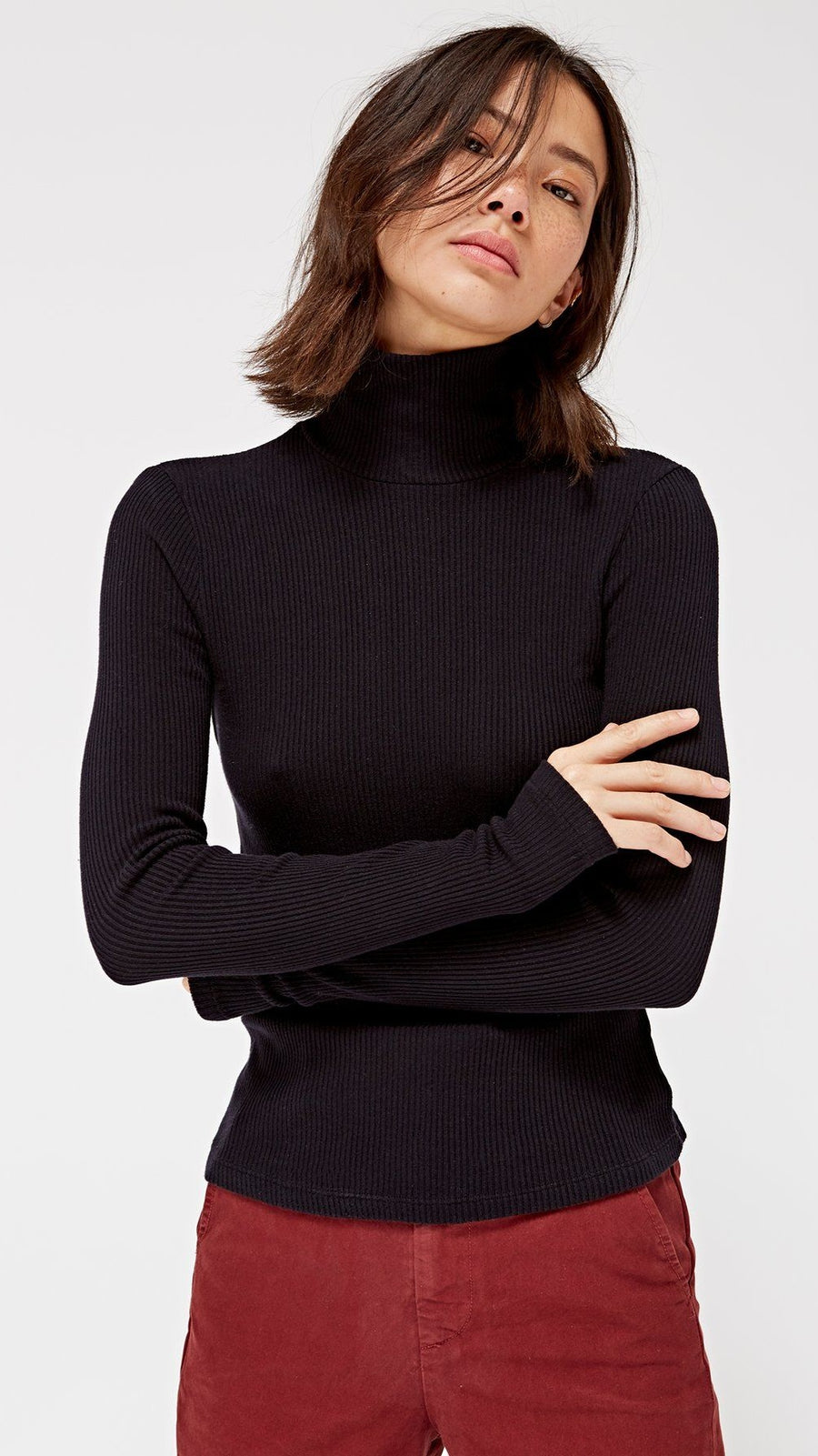 LACAUSA Sweater Rib Turtleneck in Black