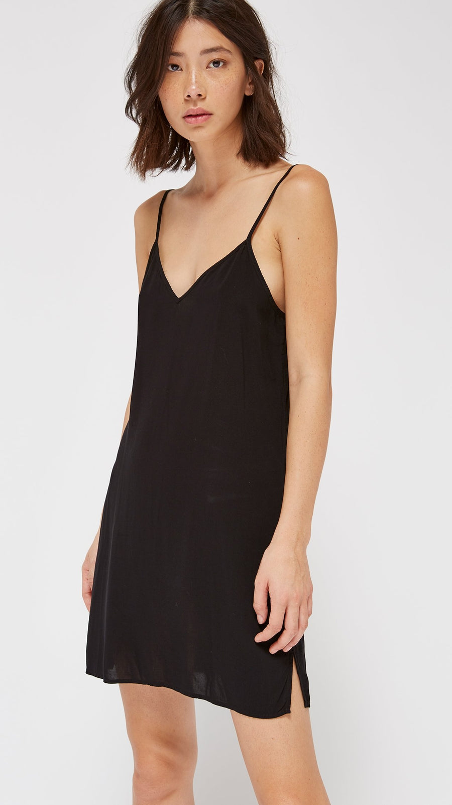 LACAUSA Clothing V Slip Dress in Tar