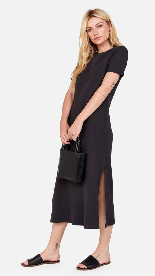 Mate the Label Layla Thermal Midi Dress in Charcoal