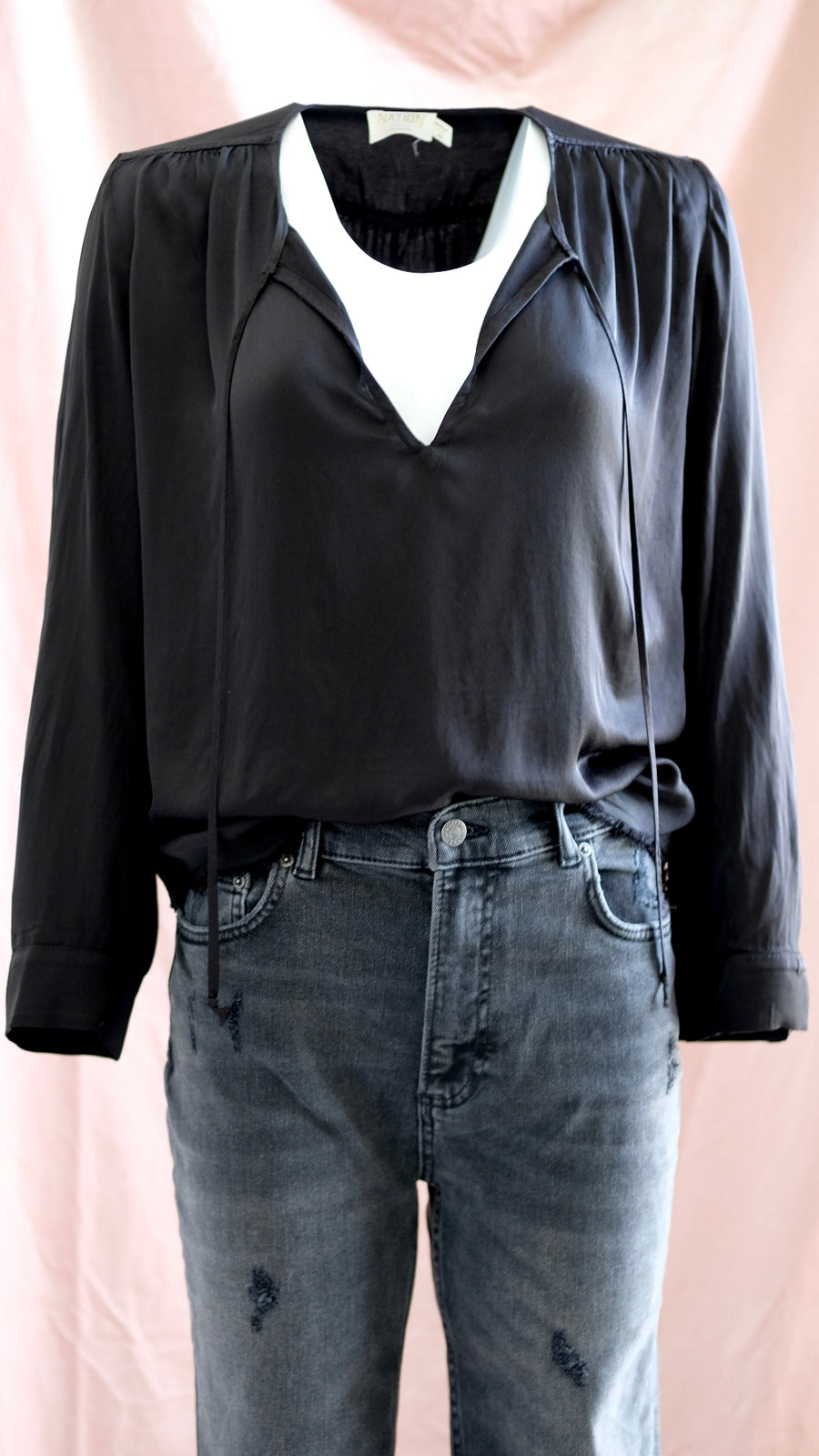 Nation LTD Maura Front Tie Top in Black