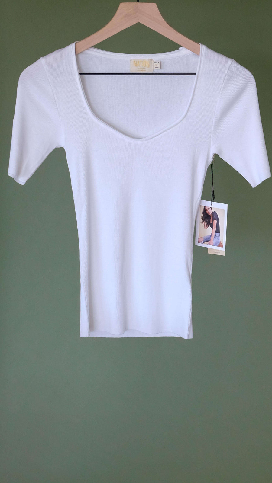 Eris Button Sleeve Sweetheart Tee in White by Nation LTD