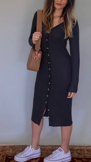 Nation LTD Kate Cardigan Dress in Washed Black