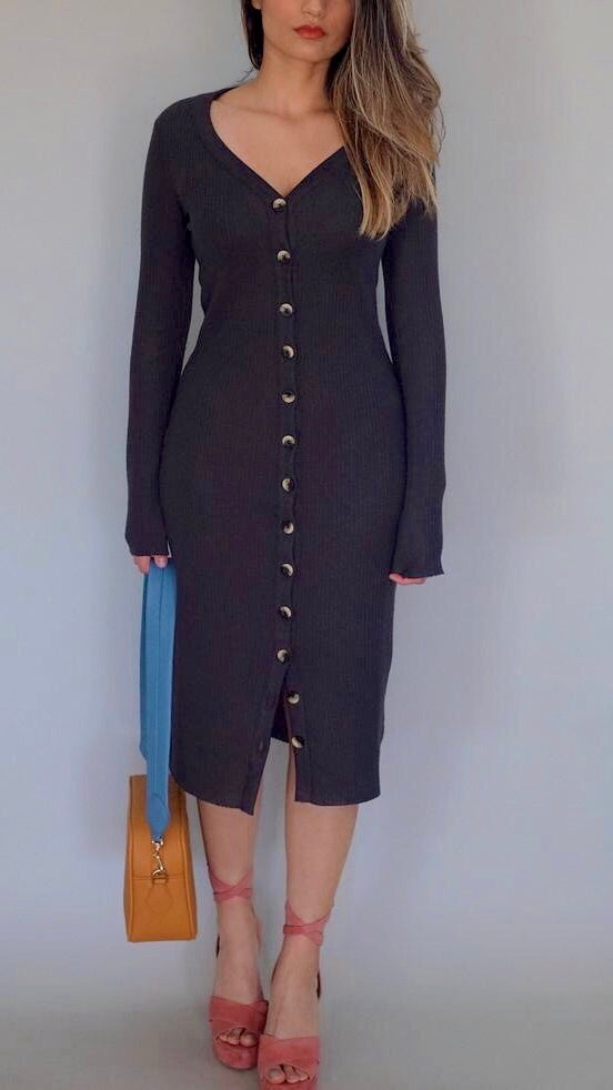 Kate Cardigan Dress in Washed Black by Nation LTD