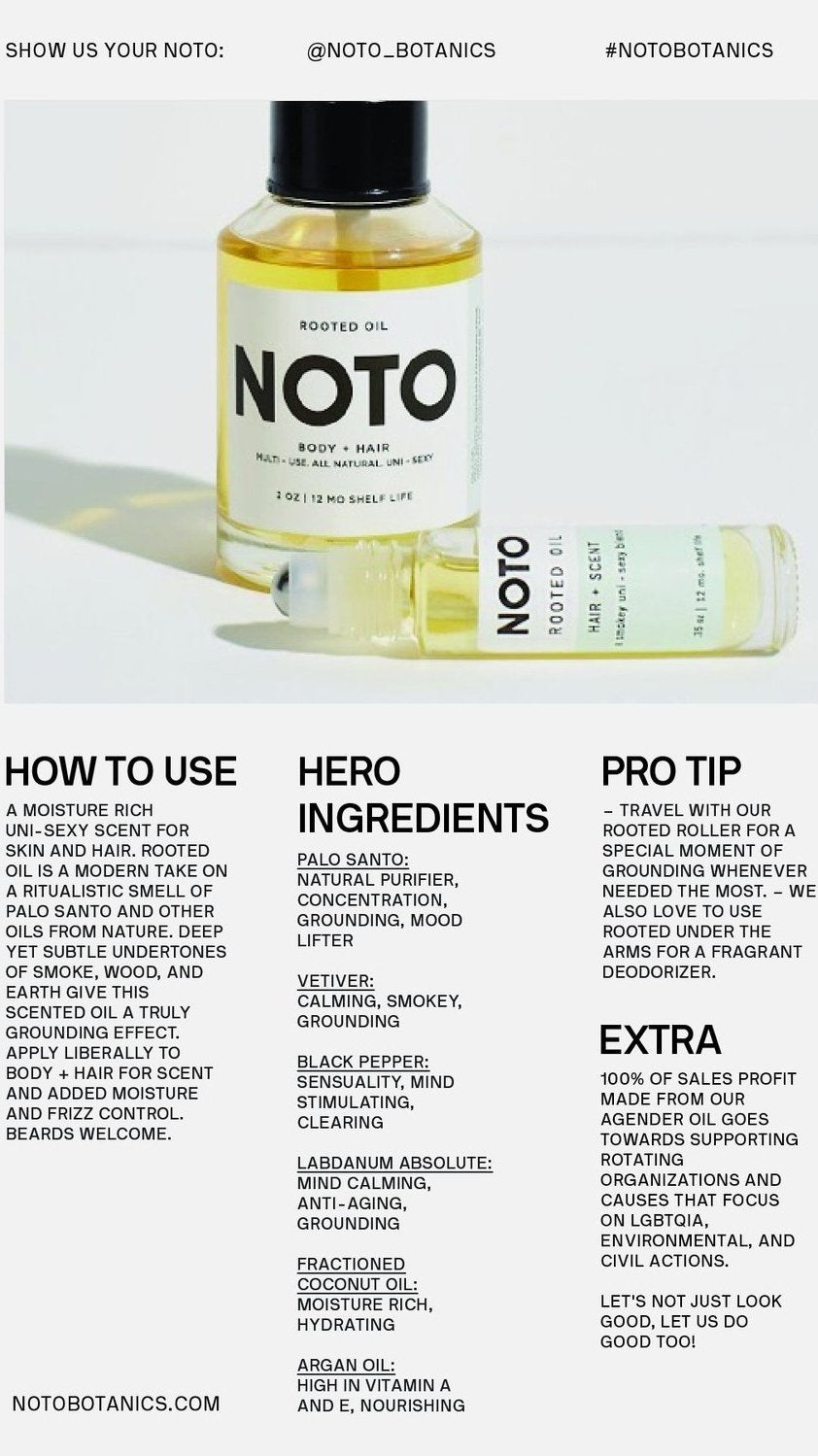 NOTO Botanics Rooted Oil Roller Ingredients