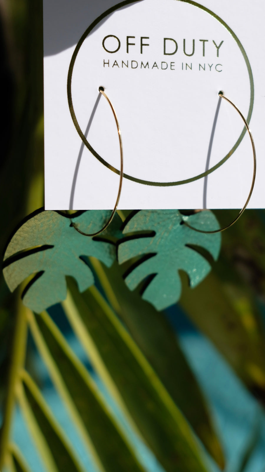 Palm Leaf Hoops in Light Green handmade by Off Duty NYC