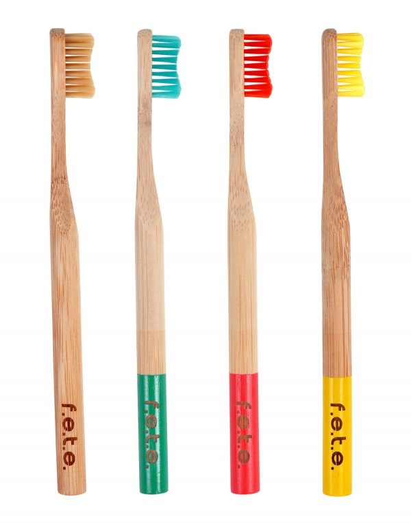 F.E.T.E. Soft Bristle Bamboo Toothbrush 4-Pack