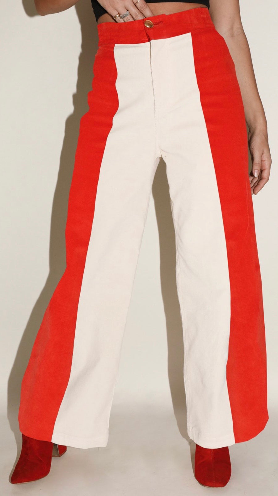 Sugarhigh Lovestoned Woody Wide Leg Pant in Red & Cream Paneled Stretch Corduroy