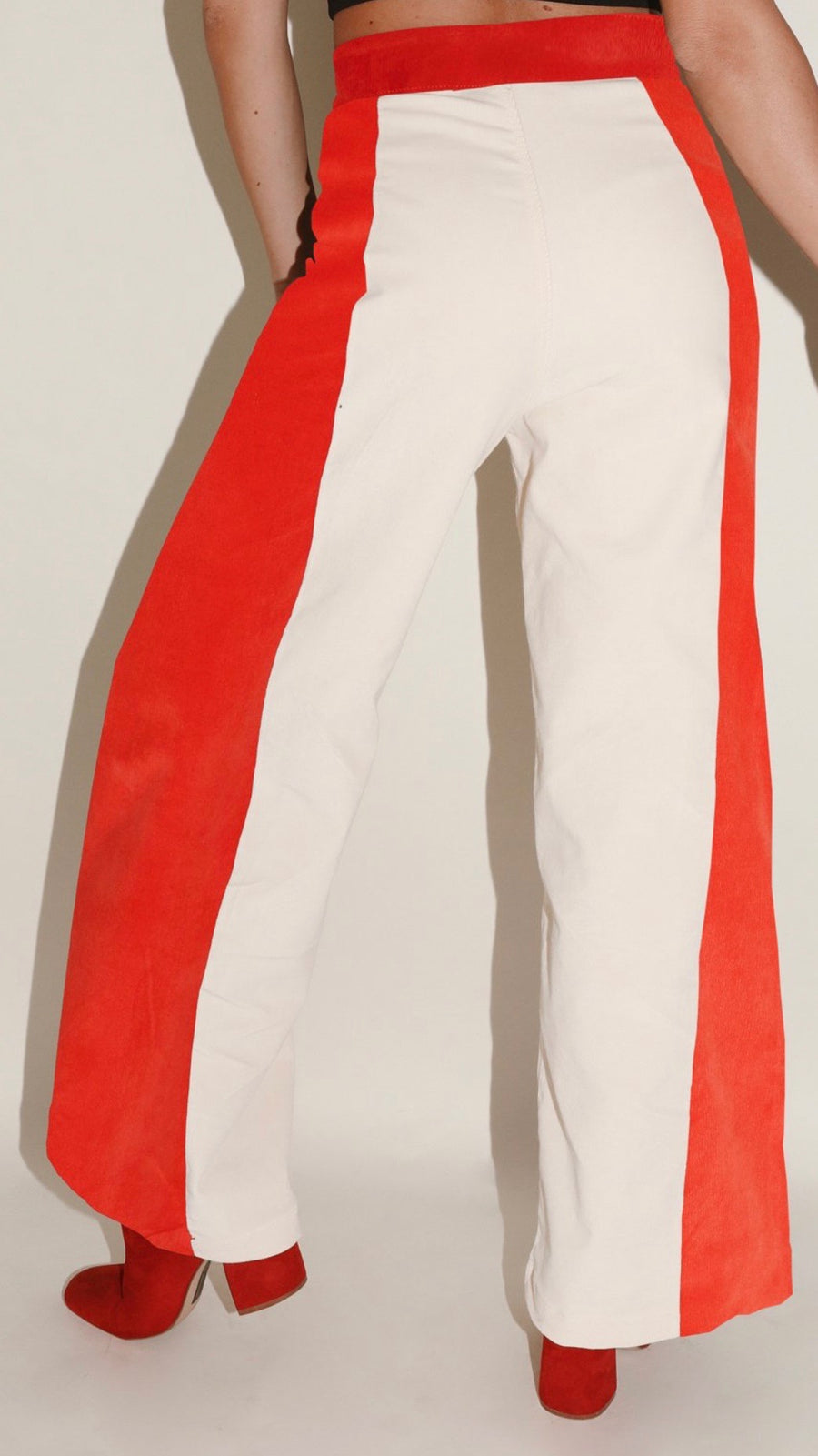 Red & Cream Woody Wide Leg Pant by Sugarhigh Lovestoned