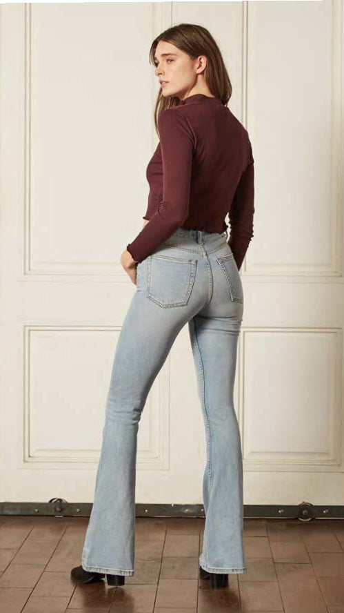 The Kingsley Wide Leg Flare by Boyish Jeans in Gone With The Wind Light Wash Denim