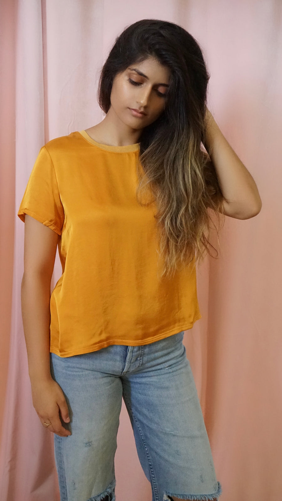 Nation LTD Sateen Marie Tee in Turmeric