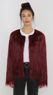 Unreal Fur Unreal Dream Jacket in Burgundy