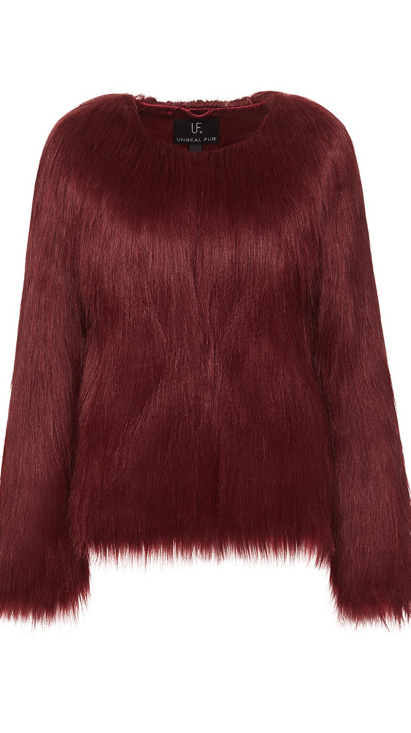 Unreal Dream Faux Fur Jacket in Burgundy by Unreal Fur