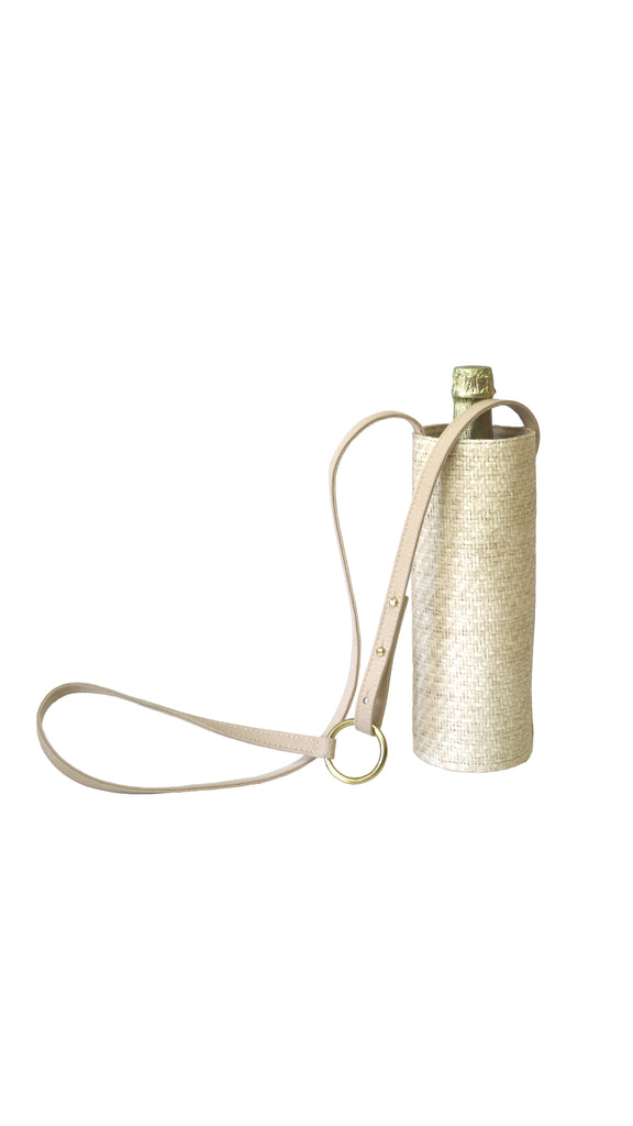 Water Bottle Bag in White Sand Raffia by HFS Collective