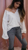 Nation LTD Aerin Peasant Sweatshirt in Dirty White