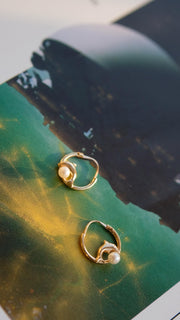 Vintage Dolphin Pearl Hoop Earrings