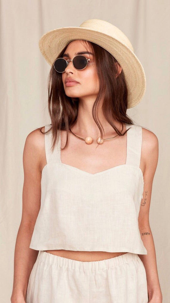 MATE The Label Linen Coco Crop in Natural