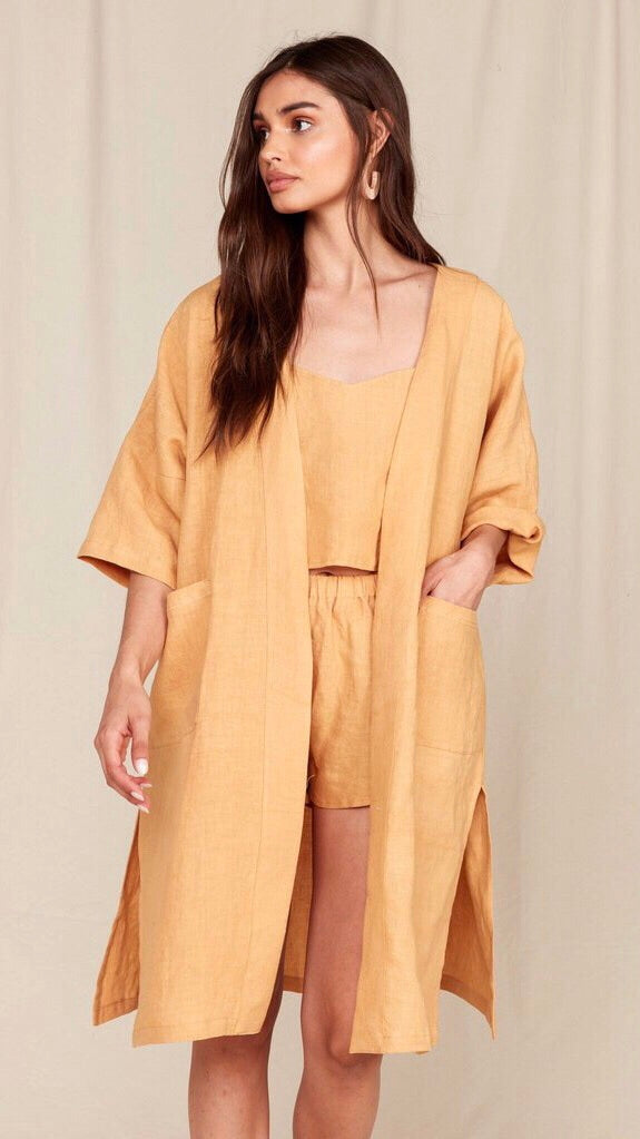 MATE The Label Linen Lily Kimono in Ochre
