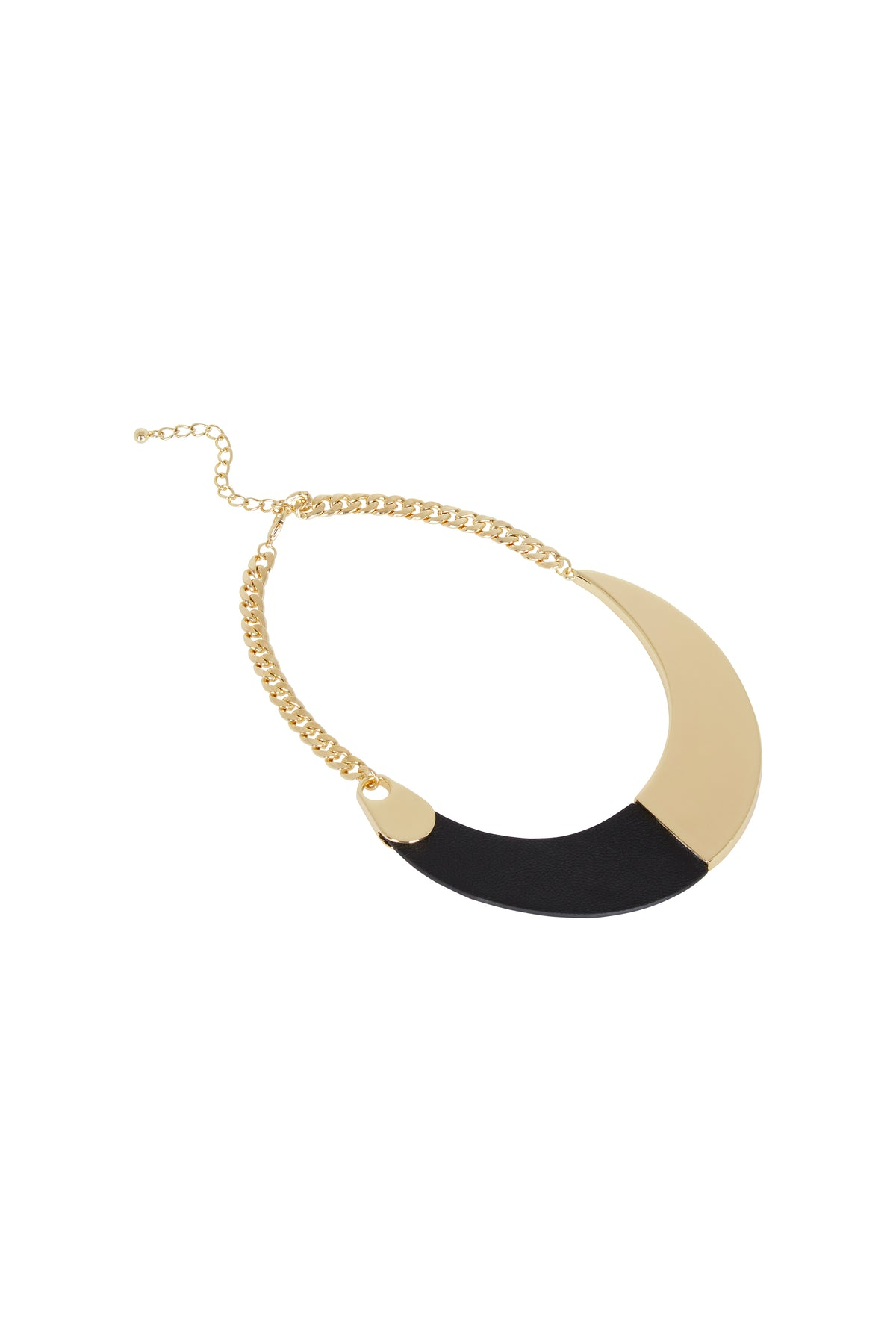 CARLIE LEATHER/GOLD NECKLACE
