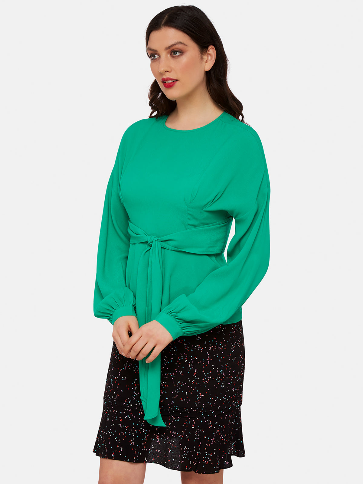 TAMARA PEPLUM TOP GREEN