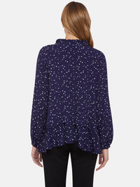 COLE CONVERSATIONAL PRINT BLOUSE NAVY/WHITE