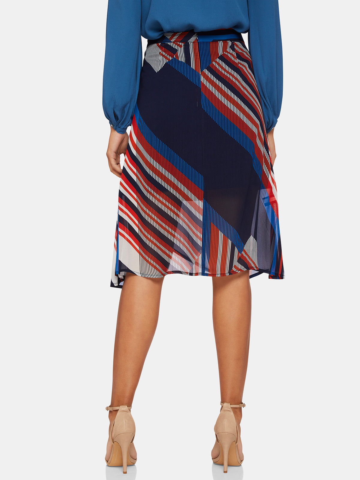 EDIE STRIPE SKIRT NAVY