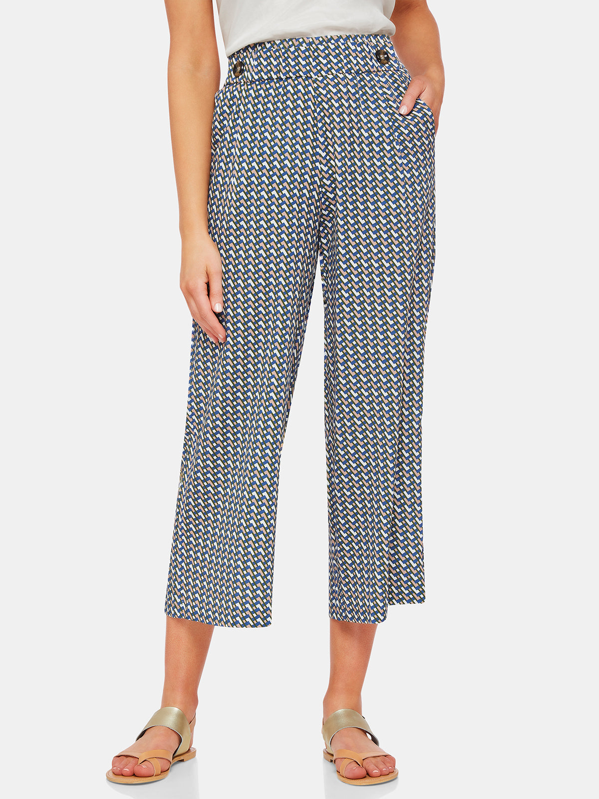 LOLA WIDE LEG GEO PANTS MULTI