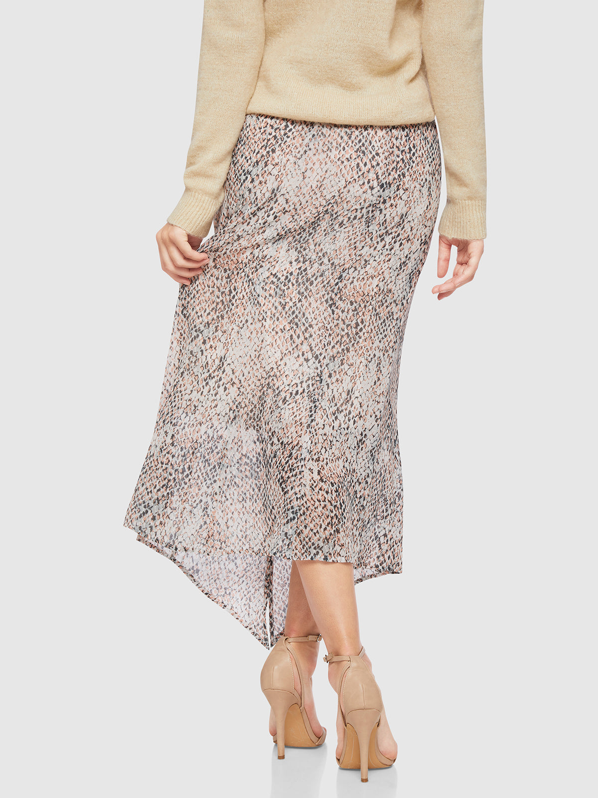 ZOE ANIMAL PRINT SKIRT NUDE