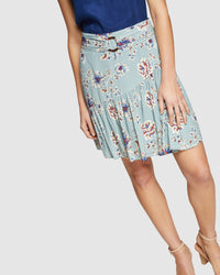 KAT FLORAL PRINTED SKIRT GREEN